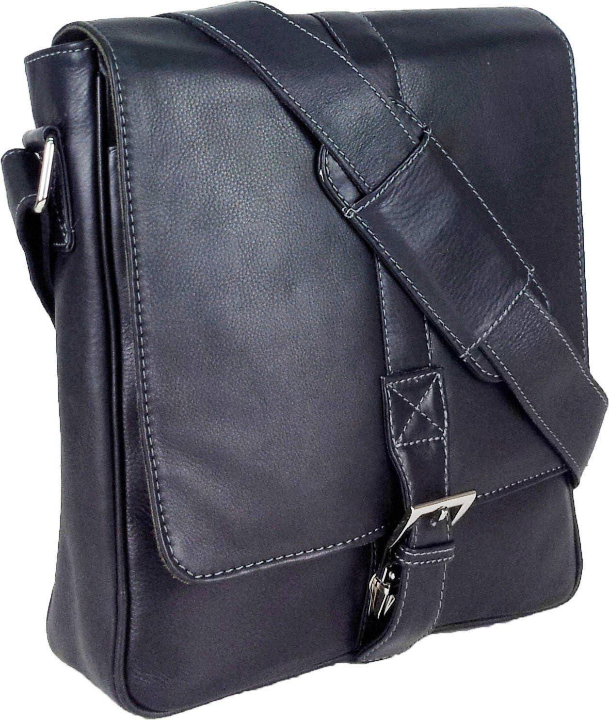 Messenger Bag #4J Ebook ou Tablets Messager Sac UNICORN R/éel en cuir Noir ipad