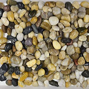 YISHANG 18 Pounds River Rocks, Pebbles, Garden Outdoor Decorative Stones, Natural Polished Mixed Color Stones for Landscaping, Home Decor etc. (0.8-1.6 Inches)