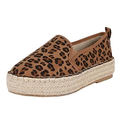40d8600224c9 Womens Casual Espadrilles Platform Leopard Sip-on Round Toe Dress Sneakers  Shoes
