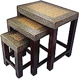 Anshika International Solid Brass Bedside Vintage Nesting Table Set of 3 Stool for Living Room Bedroom Home Office