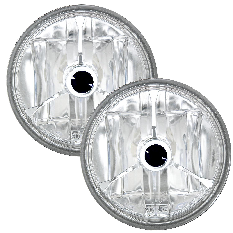 Adjure T40314 4-1//2 Diamond Cut Trillient Black Dot Tri-Bar Motorcycle Spotlight with H3 Bulb Pair