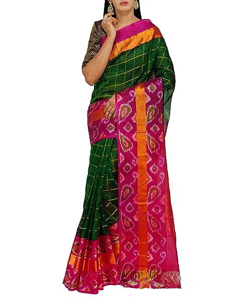d4ce2b88a0cc81 Unnati Silks Women Green Handloom Pochampally Ikat Kuppadam Silk Cotton  Pattu Saree With Blouse from the Weavers of Andhra Pradesh (UNM26183)   Amazon.in  ...