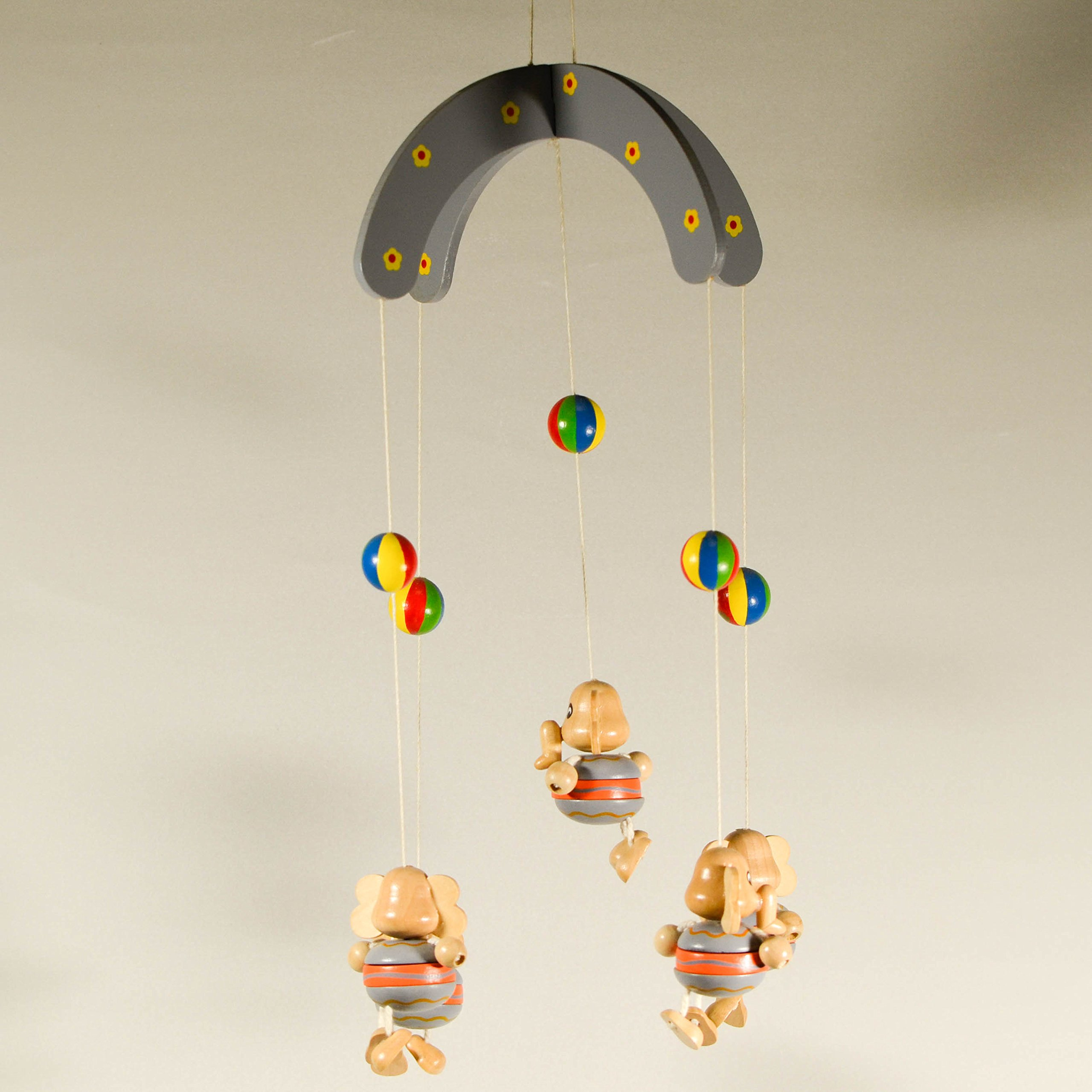 Wooden Hanging Mobile with Elephants - Nursery Decor - Animal Mobile Ornament - Baby Room Decor