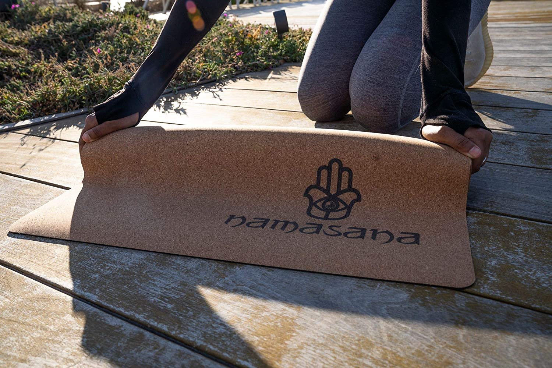 Non Slip Sustainable Natural Eco Friendly Non Toxic Thick Floor Mat with Rubber Back Mat includes Strap. Namasana Yoga Mats-Cork Mat Yoga Hot Yoga Pilates Floor Exercises Fitness| Men Women