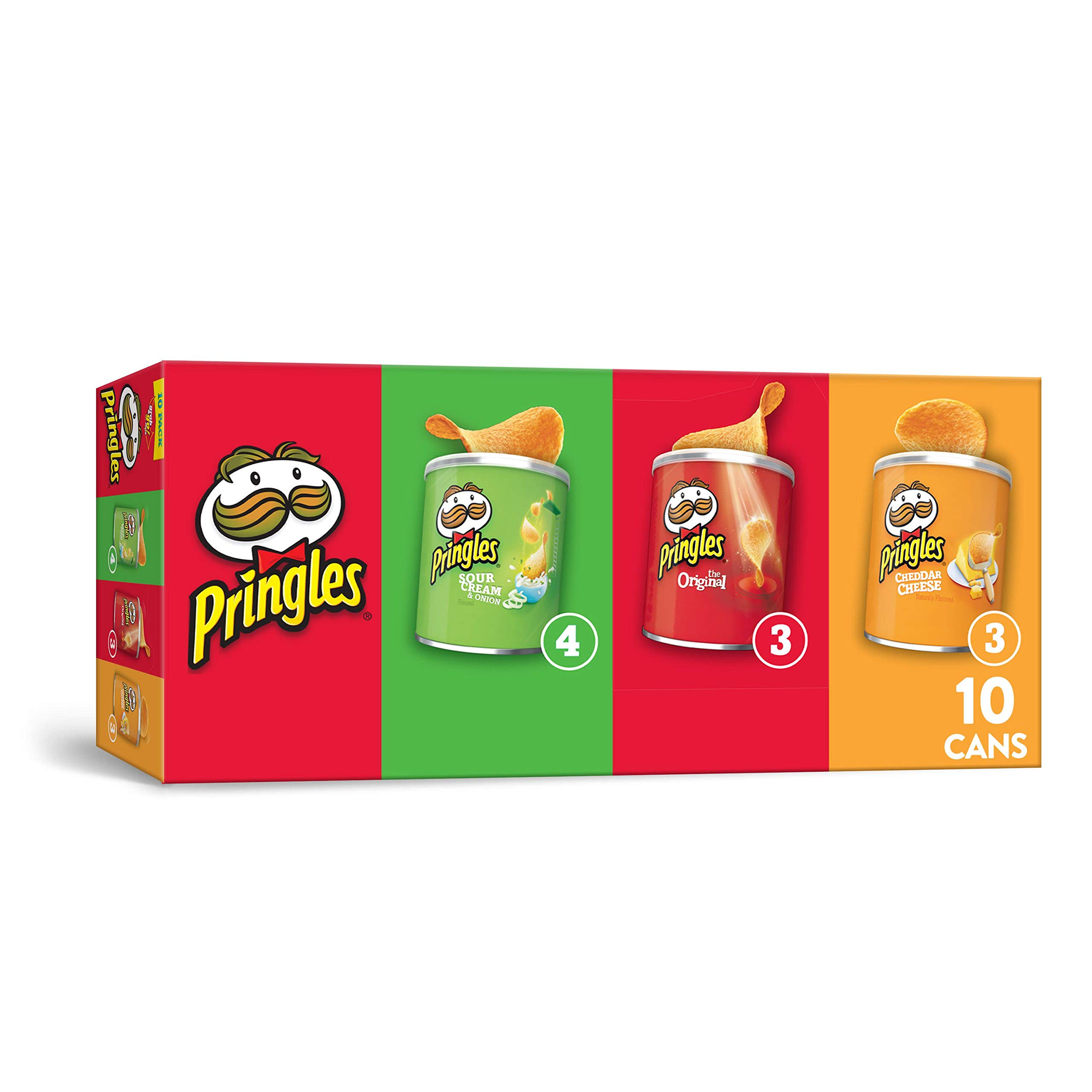 Pringles Potato Crisps Chips, Flavored Variety Pack, Original, Cheddar Cheese, Sour Cream and Onion, Grab and Go, 13.7 oz (10 Cans)