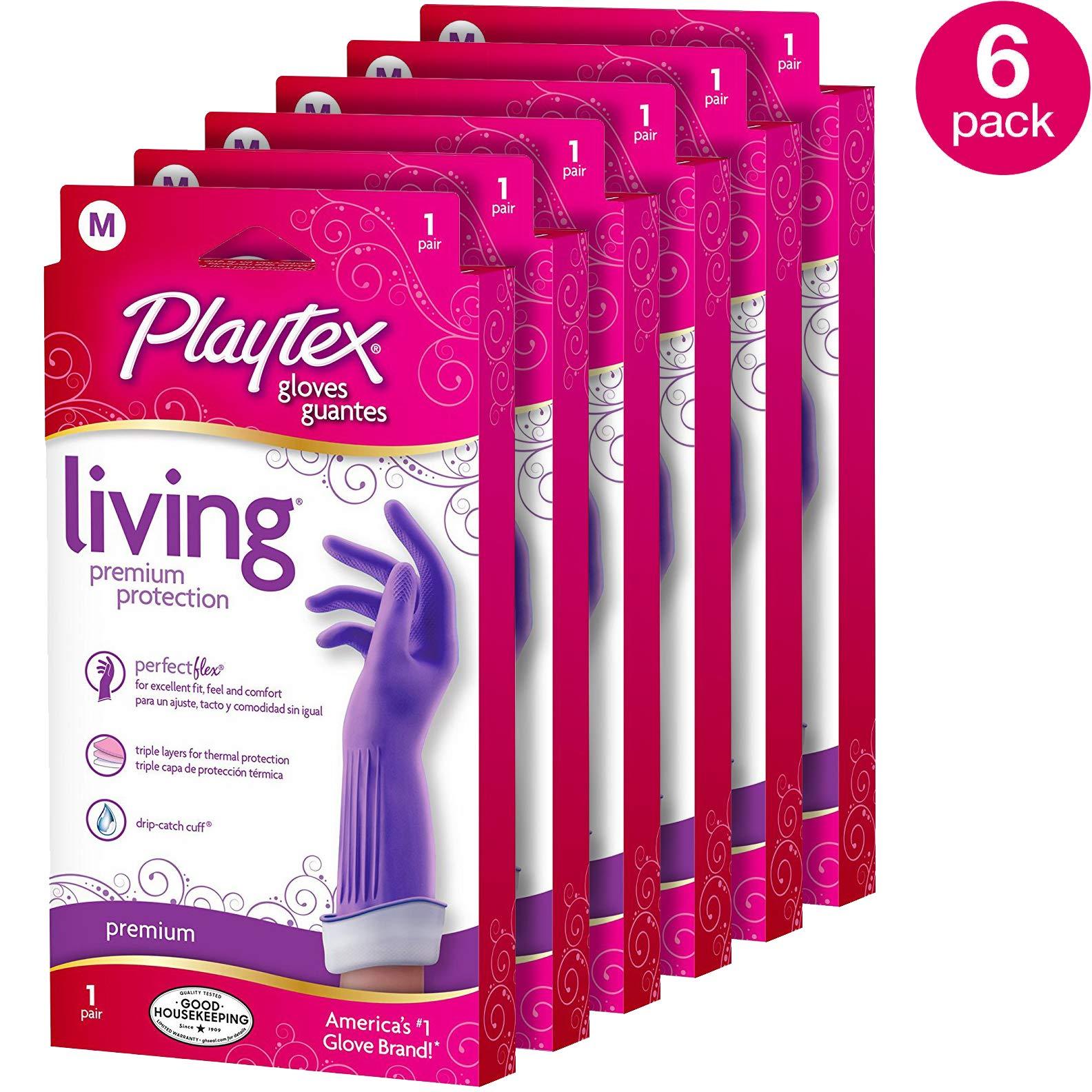 Playtex Living Reuseable Rubber Gloves (Medium, Pack - 6)