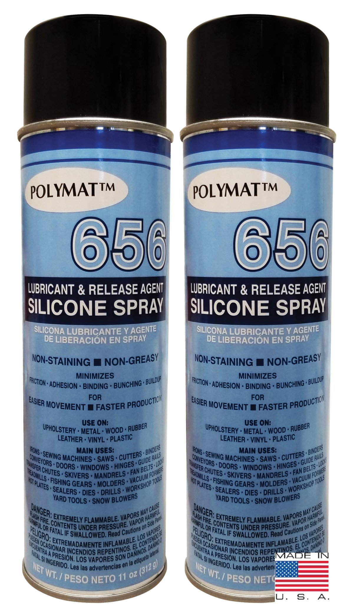 QTY 2 Polymat 656 SILICONE SPRAY NON GREASY LUBRICANT FOR LOCKS HINGES SOCKETS