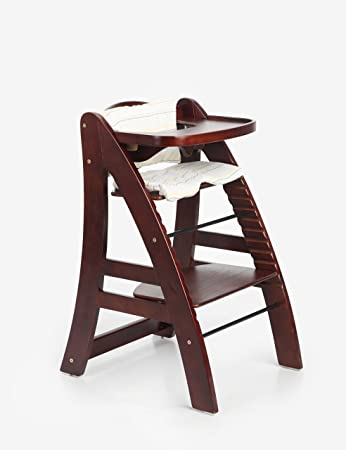 Excellent Sepnine Best Height Adjustable Wooden Highchair Baby High Chair With Padded Cushion 6511 Dark Cherry Andrewgaddart Wooden Chair Designs For Living Room Andrewgaddartcom