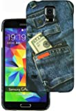 Heartly Jeans Style Printed Design High Quality Hard Bumper Back Case Cover For Samsung Galaxy S5 i9600 - Cash Pocket