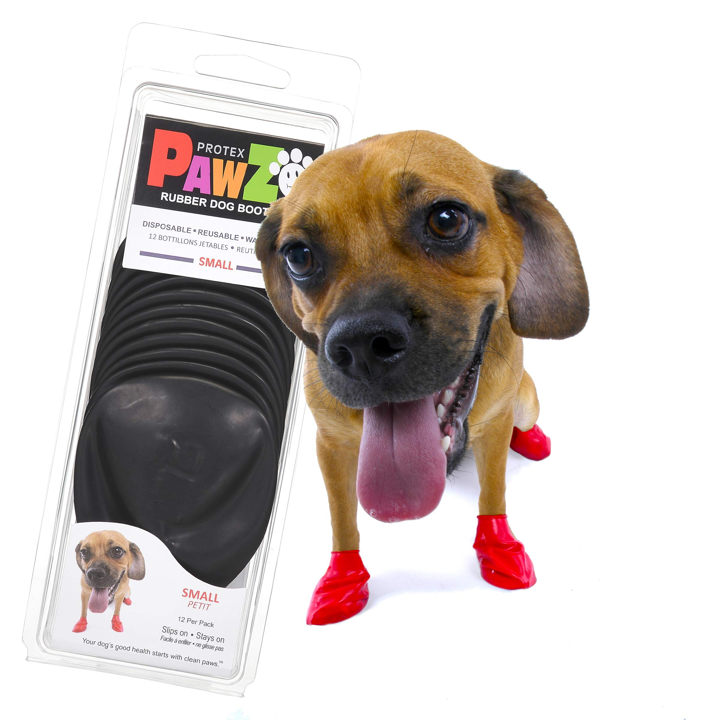 PawZ Dog Boots | Rubber Dog Booties | Waterproof Snow Boots for Dogs | Paw Protection for Dogs | 12 Dog Shoes per Pack…