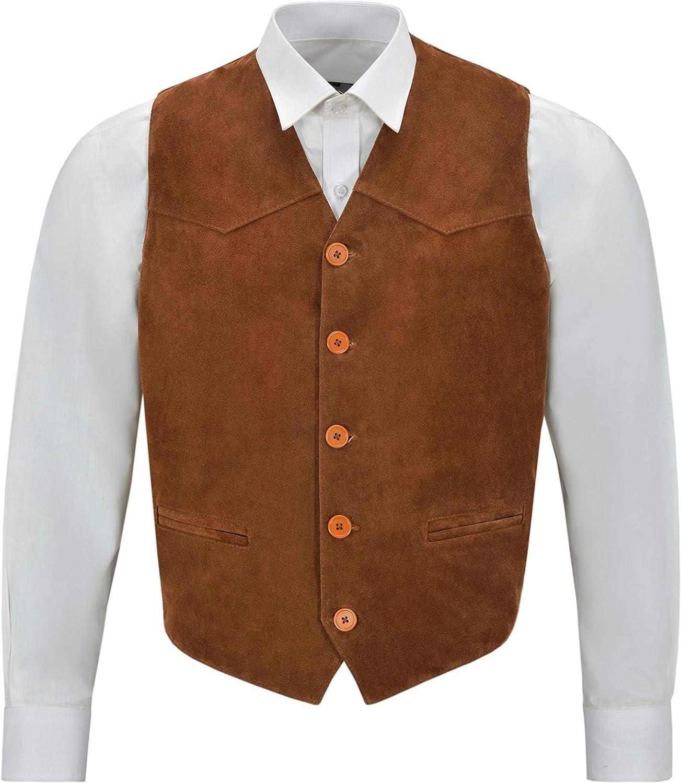 Smart Range Mens Tan Suede Real Leather Waistcoat Western Cowboy Festival Party Zara Vest