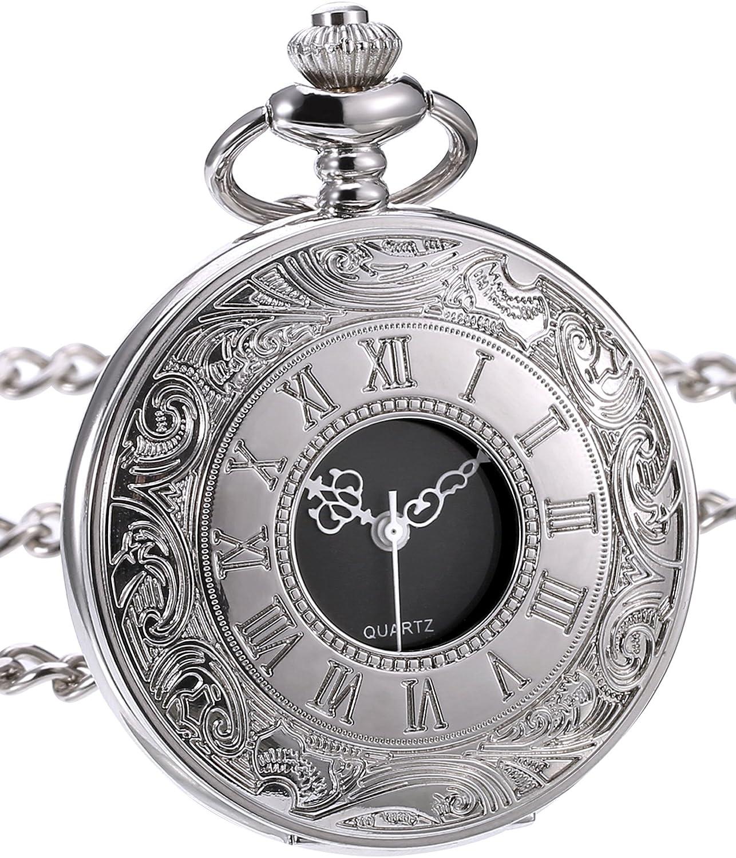 Reloj de Bolsillo de Cuarzo Clásico con Escala de Números Romanos y Correa de Cadena