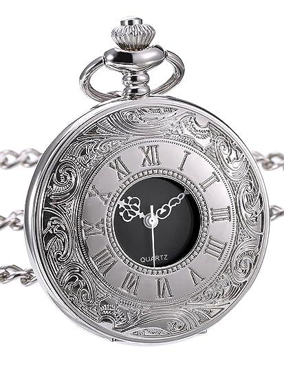 Reloj de Bolsillo de Cuarzo Clásico con Escala de Números Romanos y Correa de Cadena: Amazon.es: Relojes