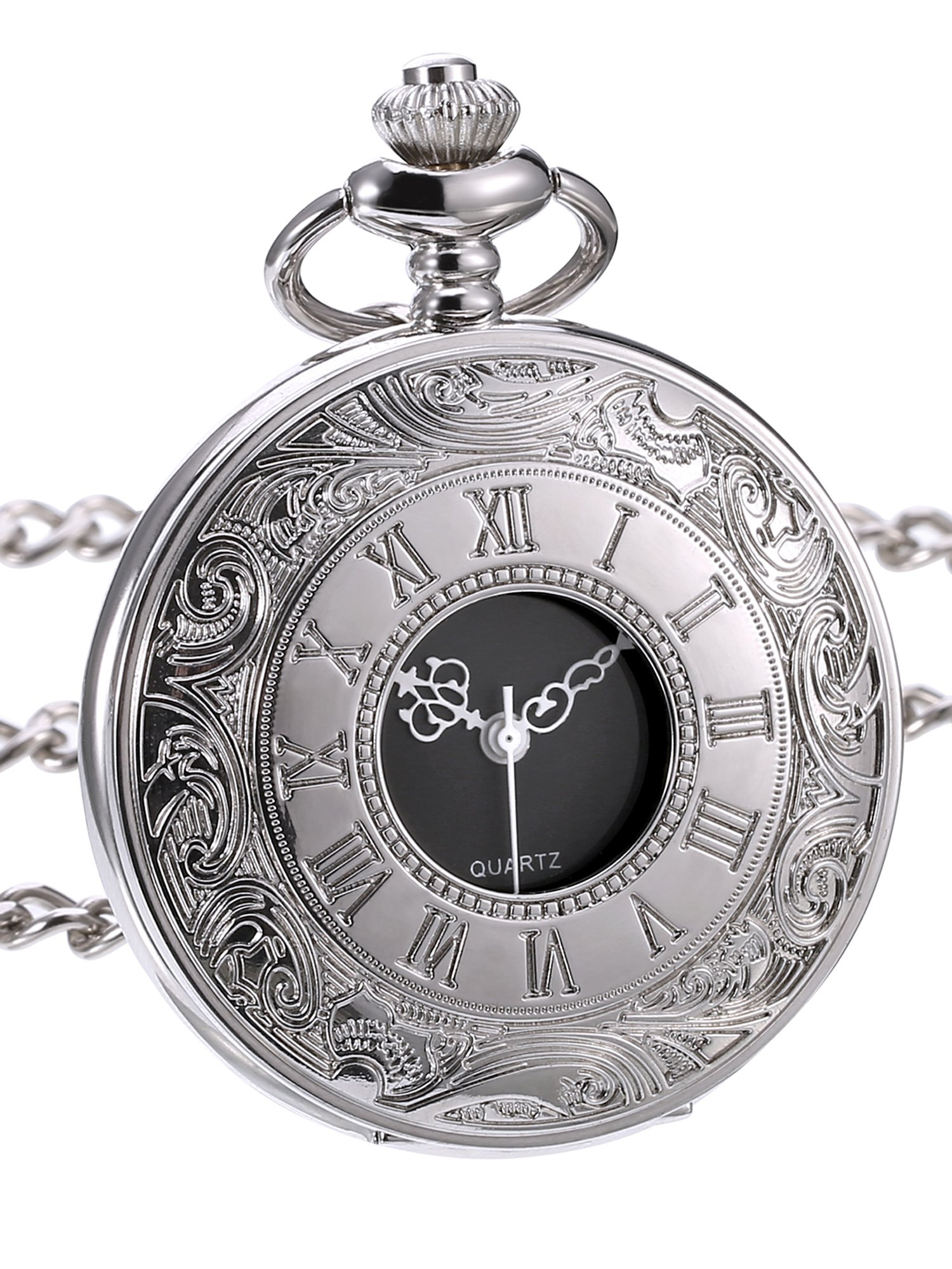 Hicarer Classic Quartz Pocket Watch with Roman Numerals Scale and Chain Belt by Hicarer