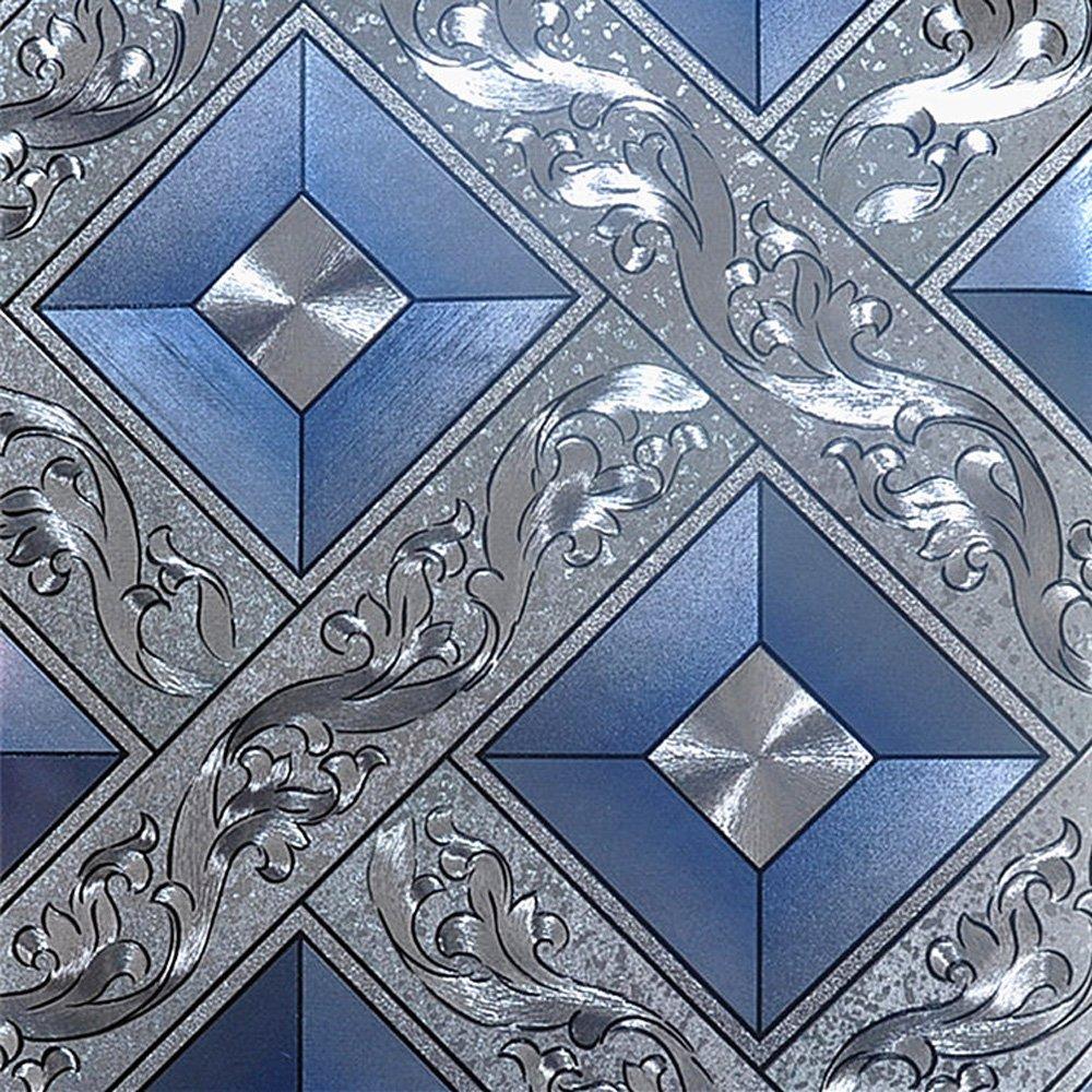 QIHANG Luxury Silver Foil Mosaic Square Lattice Background Flicker Wallpaper Gold Leaf Wallpaper Modern Roll/hotel Ceiling/decorative Wallpaper Roll Silver&Blue Color 1.73' W x 32.8' L=57 sq.ft