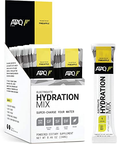 ATAQ Electrolyte Hydration Mix, All Natural, with Betaine, Pineapple, 16 Single Serving Packets