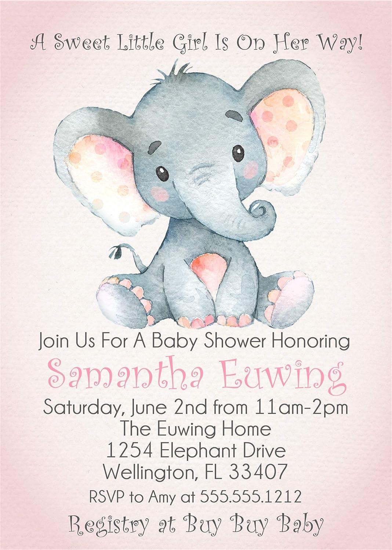 Pink Elephant Baby Shower Invitations Baby Girl Elephant Baby