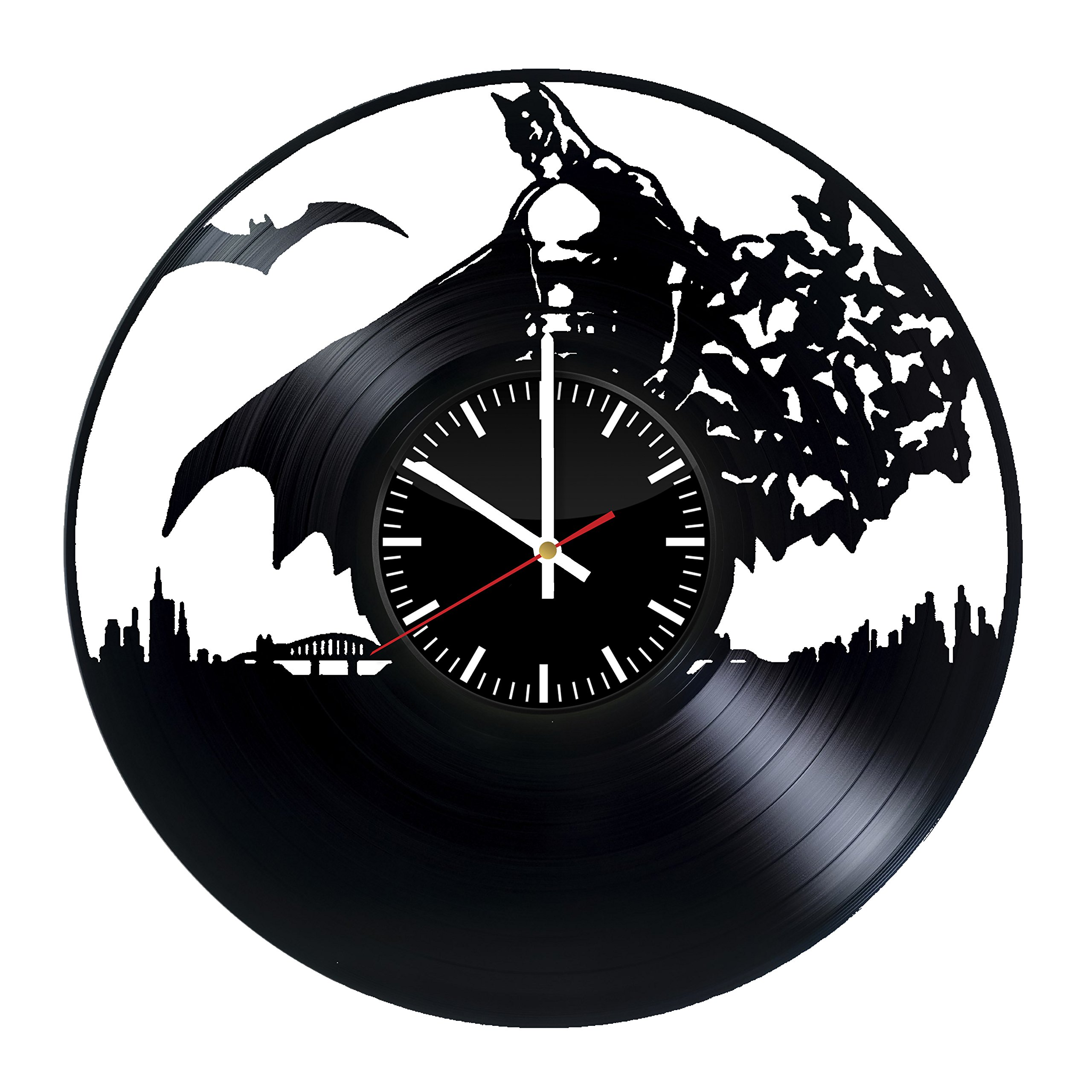 Welcome Everyday Arts Batman Vinyl Record Wall Clock - Get Unique Home Room Wall Decor - Gift Ideas Men Women – Unique DC Comics Themed Fan Art Design