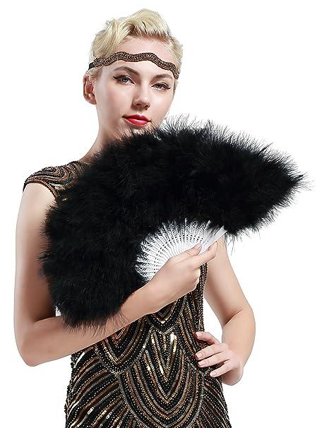 Victorian Hand Fan, Gloves, Belt Accessories 20s Vintage Style Folding Handheld Marabou Feather Fan Flapper Accessories (Black) $11.99 AT vintagedancer.com