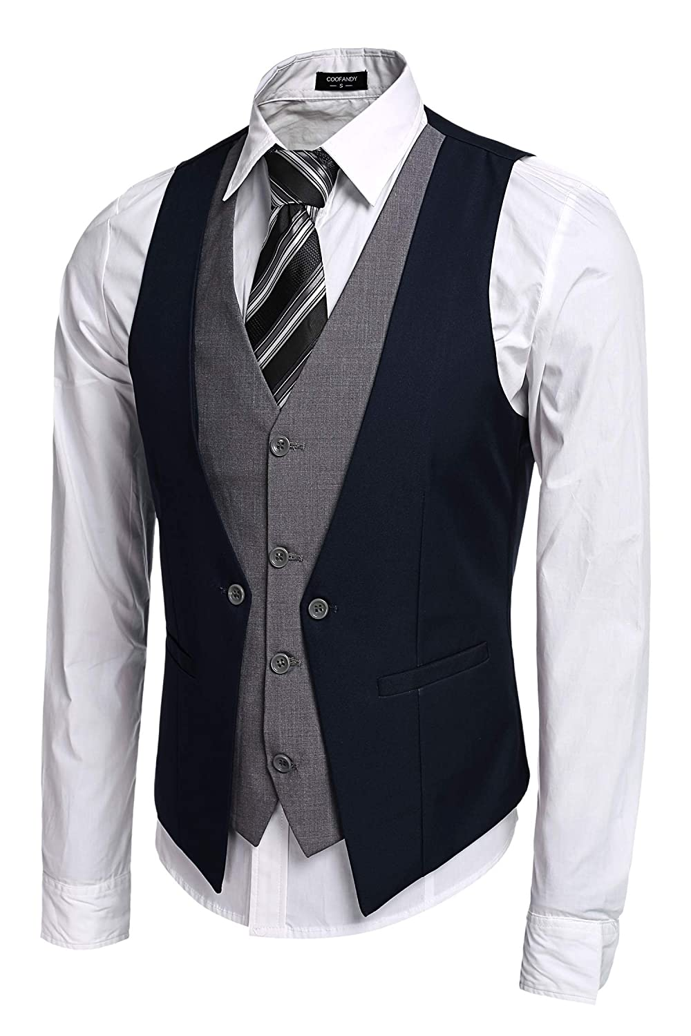 Coofandy Men's V-neck Sleeveless Slim Fit Jacket Business Suit ...