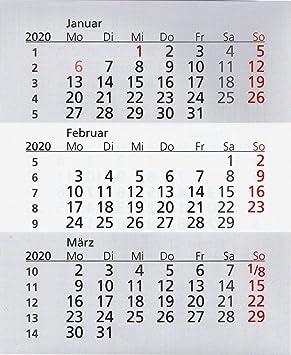 Ersatzkalender 2019 /& 2020 magnetisch für 3-Monats-Tischkalender Edelstahl Typ A