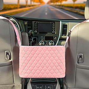 Car Net Pocket Handbag Holder Between Seat Car Organizer, Pocket Handbag Holder, Car Purse Storage, Phone Caddy in Pink by Ohana HomeWorks