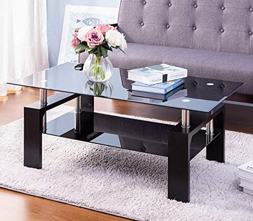 Merax Upgraded Version Rectangle Black Highlight Glass Top Cocktail Coffee Table