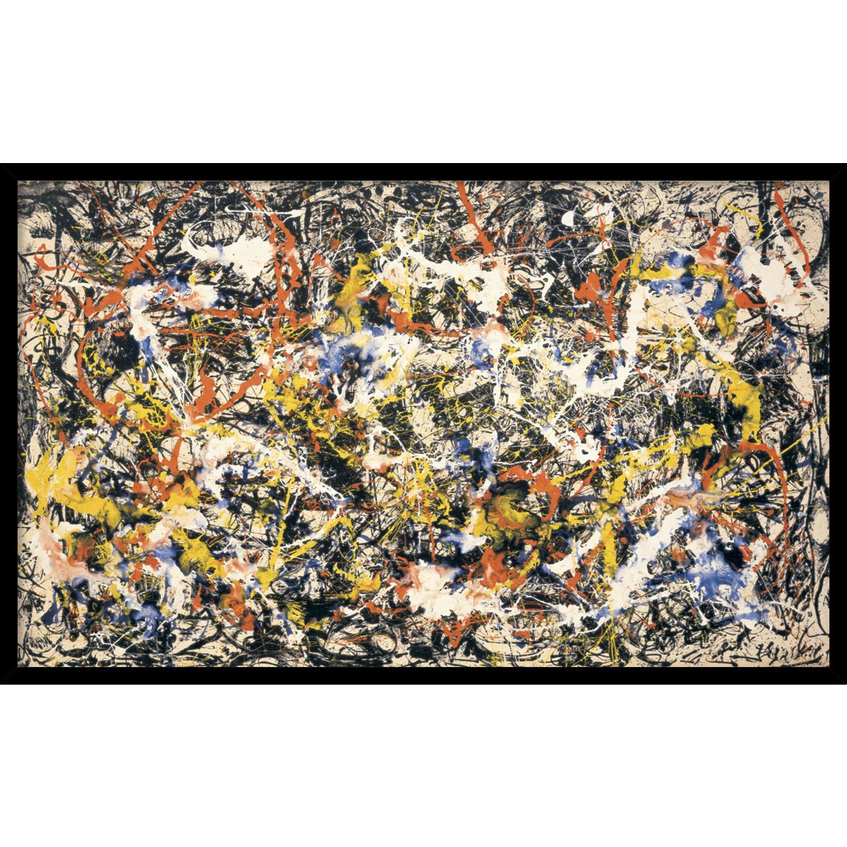 Framed Art Print, 'Convergence' by Jackson Pollock: Outer Size 37 x 23'' by Amanti Art