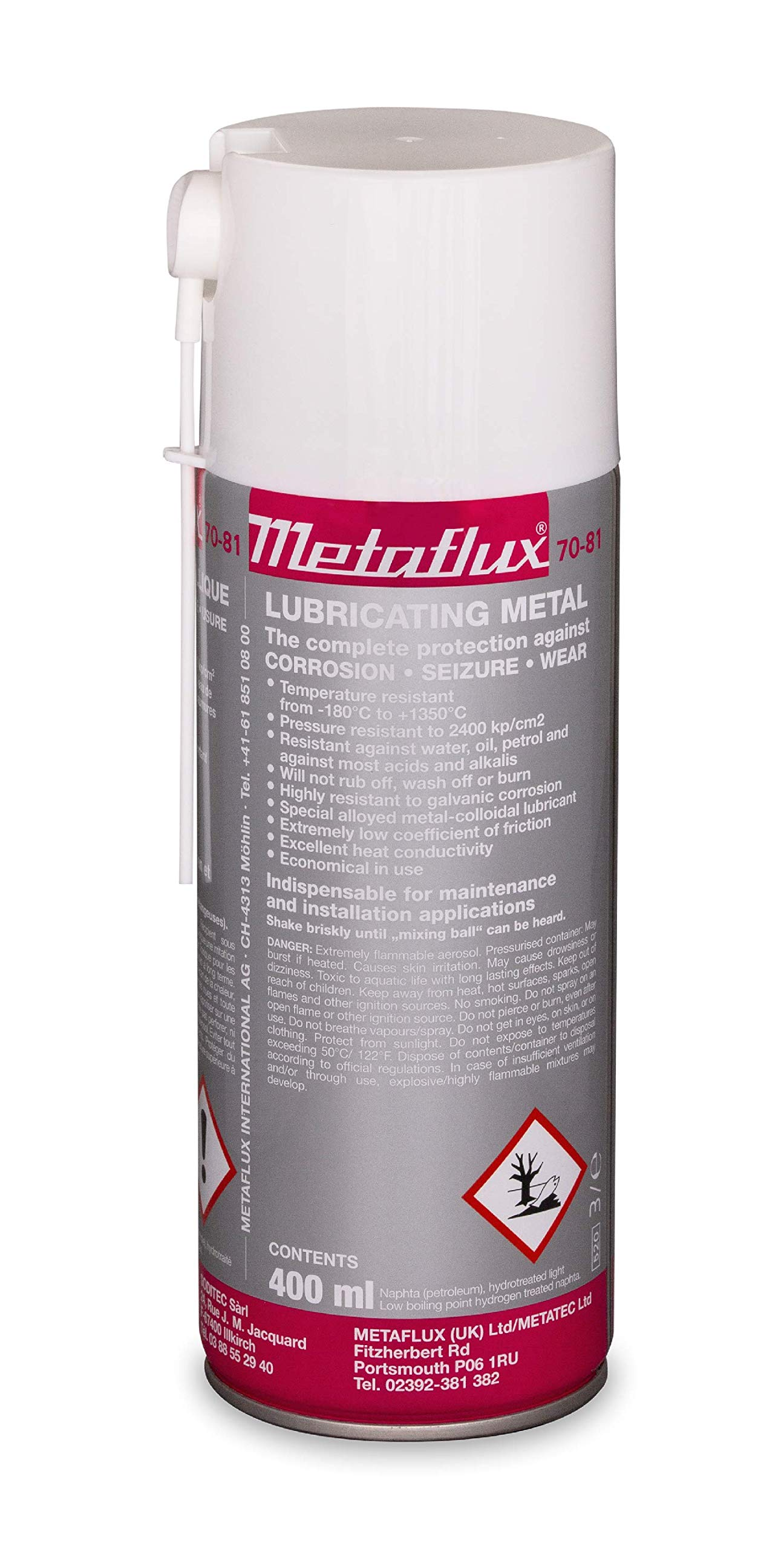 Titanium Metal Lubricant Spray & Corrosion Inhibitor| Industrial Heavy Duty Metal Lubricant Based On Titanium| Non-Flaking, Nickel, Copper and Aluminum-Free by Metaflux (13.5 Oz Spray) (1) by Metaflux