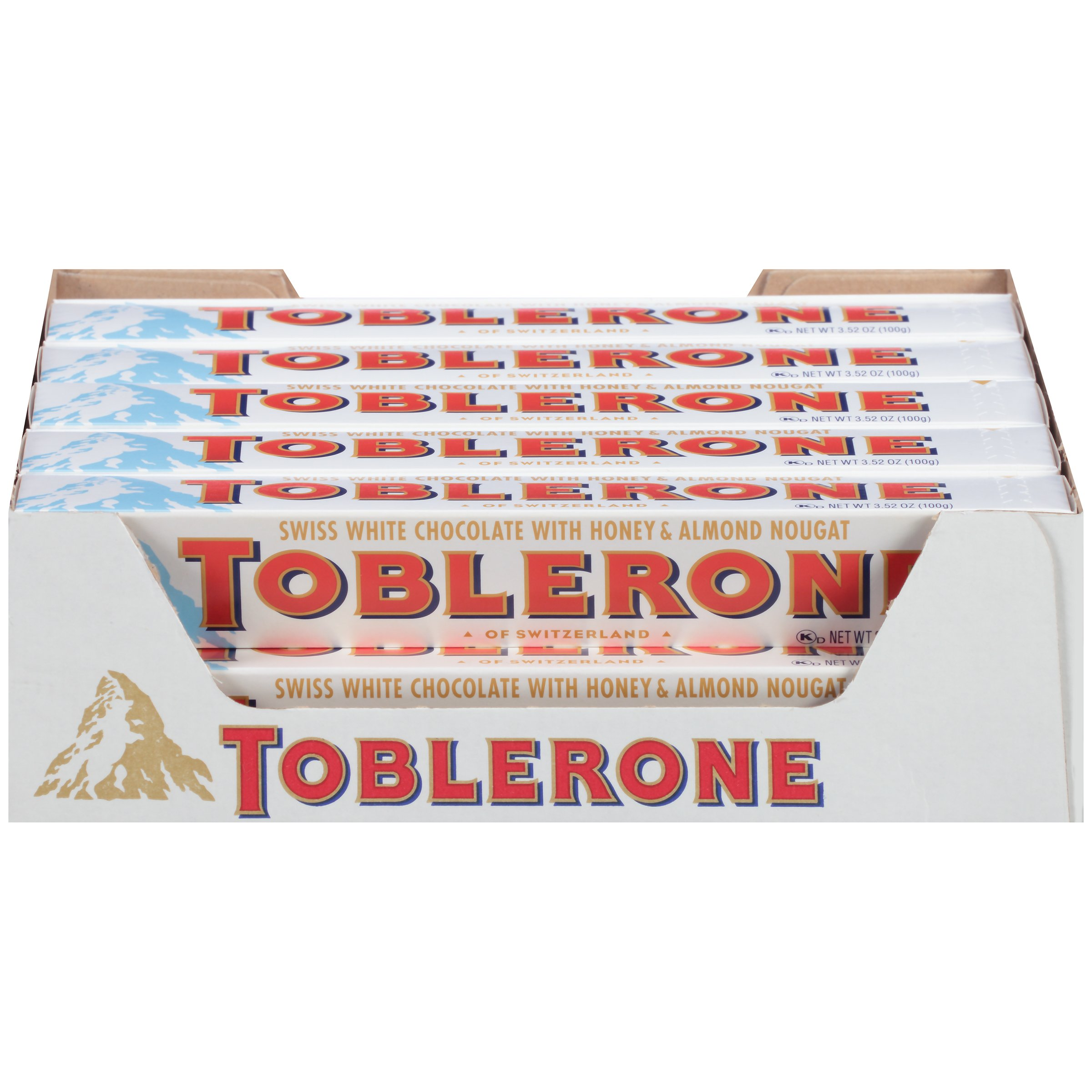 Toblerone Swiss White Chocolate with Honey and Almond Nougat, 3.52 Ounce Bars (Pack of 20) by Toblerone
