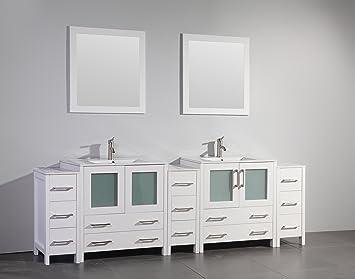 Vanity Art 96 Inch Single Sink Bathroom Vanity Set With Ceramic Top With  Free Drain And