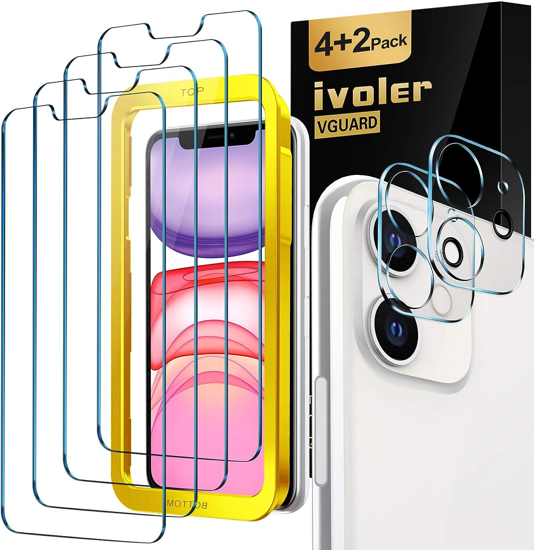 iVoler [4 Unidades] Protector de Pantalla para iPhone XR y iPhone 11 con Ayuda de posicionamiento, [2 Pack] Protector de lente de cámara para iPhone 11, Cristal Vidrio Templado [Doble protección]