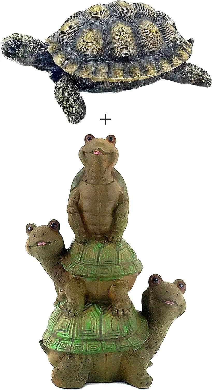 Bellaa Turtle Statue Realistic Cute Indoor Outdoor Garden Decor Set of 2