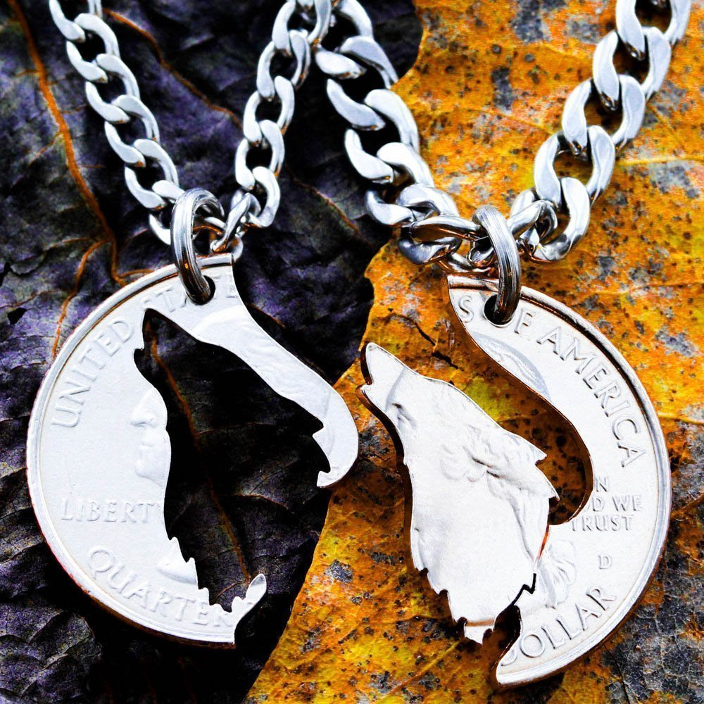 Amazon.com: Howling Wolf necklace, His and hers matching Couples ...