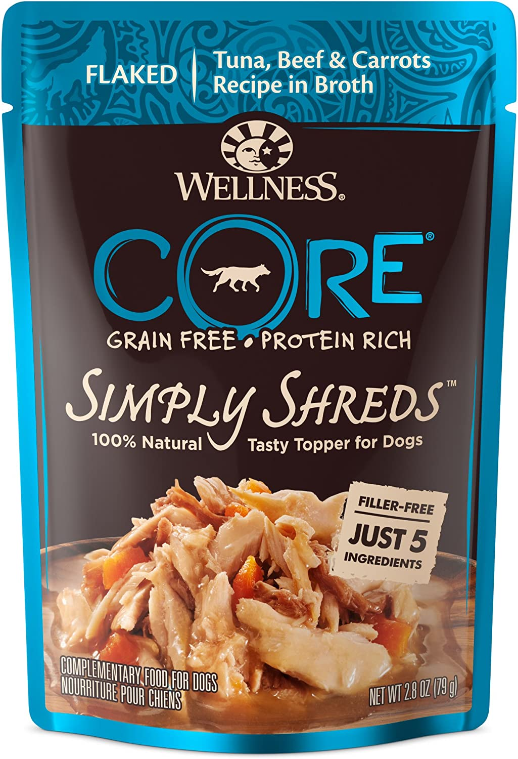 Wellness CORE Simply Shreds Natural Grain Free Wet Dog Food Mixer or Topper, Tuna, Beef & Carrots, 2.8-Ounce Pouch (Pack of 12)