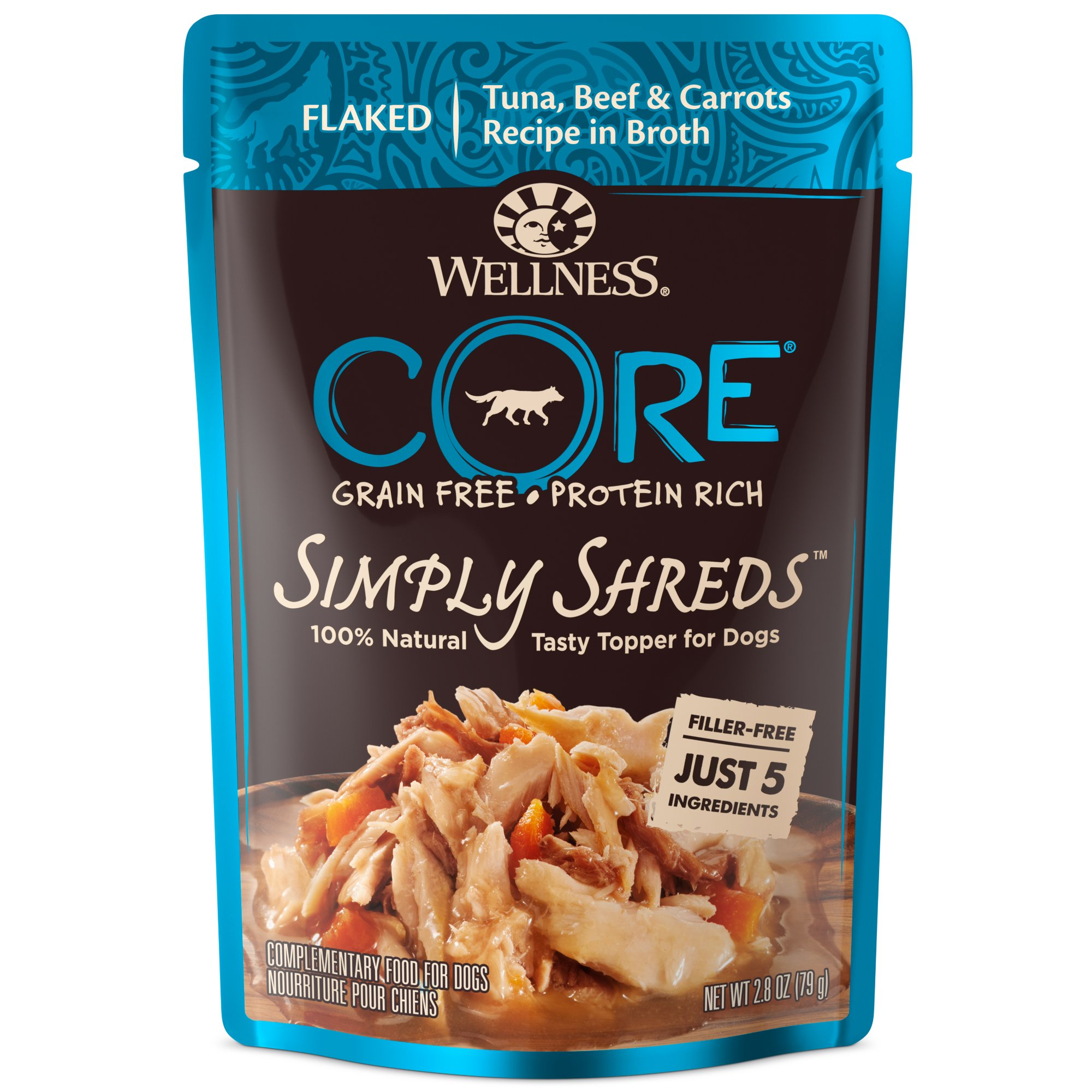 Wellness CORE Simply Shreds Natural Grain Free Wet Dog Food Mixer or Topper, Tuna, Beef & Carrots, 2.8-Ounce Pouch (12-pack)