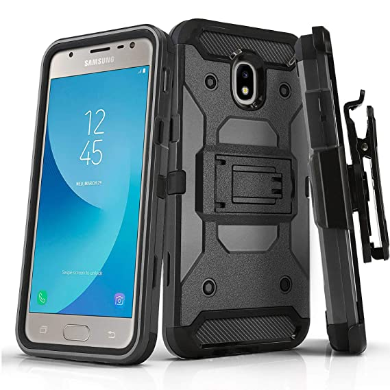 Phone Case for [Samsung Galaxy J3 Orbit (S367VL)], [Tank Series][Gray]  Shockproof Cover with [Kickstand] & [Holster] for Galaxy J3 Orbit  (Tracfone,