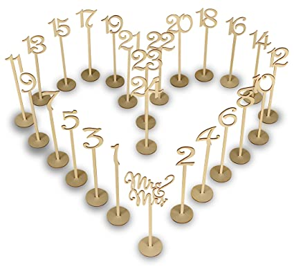 Amazon.com: Wooden Wedding Table Numbers Set with thick base stands ...