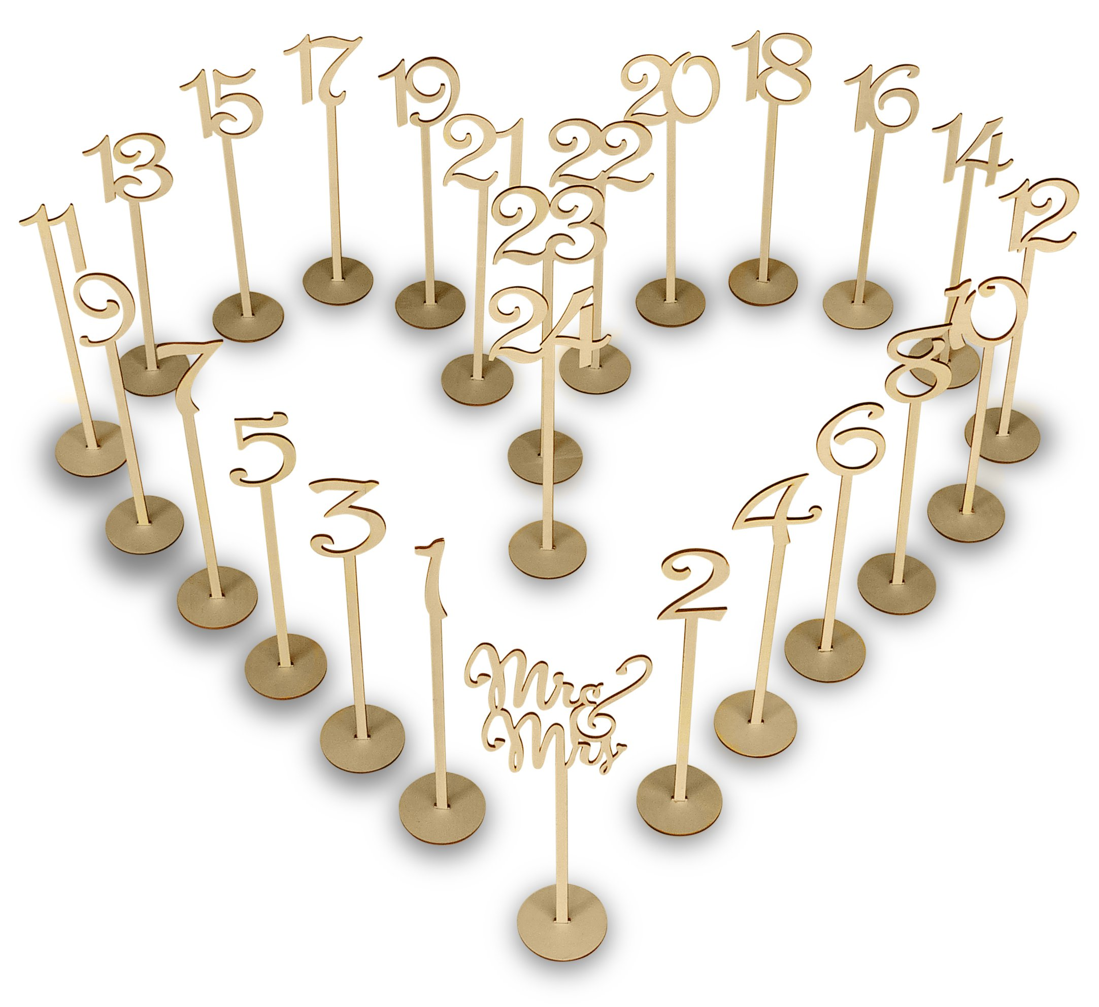 Wooden Wedding Table Numbers Set with thick base stands – Elegant banquet, birthday, catering, wedding, wedding reception, anniversary, party, home event place organizing pack by Wrigs & Fen