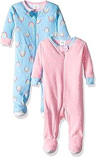 e89bcc06bd7b Amazon.com  Gerber Baby Girls  2 Pack Zip Front Sleep  n Play  Clothing