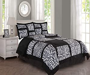 Empire Home 4 Piece Safari Comforter Set (Black, Full)