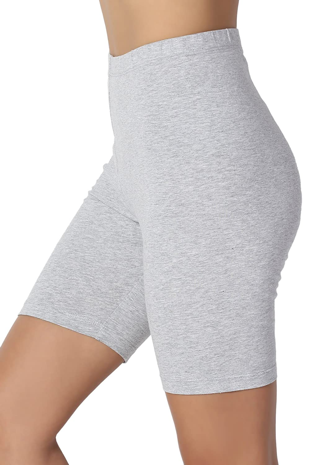 TheMogan Women's Mid Thigh Cotton High Waist Active Short Leggings Heather Grey M OP1802P_HGR_3M
