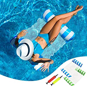 Pool Floats Adult Size, 2 Pack Inflatable Pool Float, 4-in-1 Swimming Pool Raft with 2 Hand Pump, Water Hammock Pool Toys, Saddle, Lounge Chair, Drifter