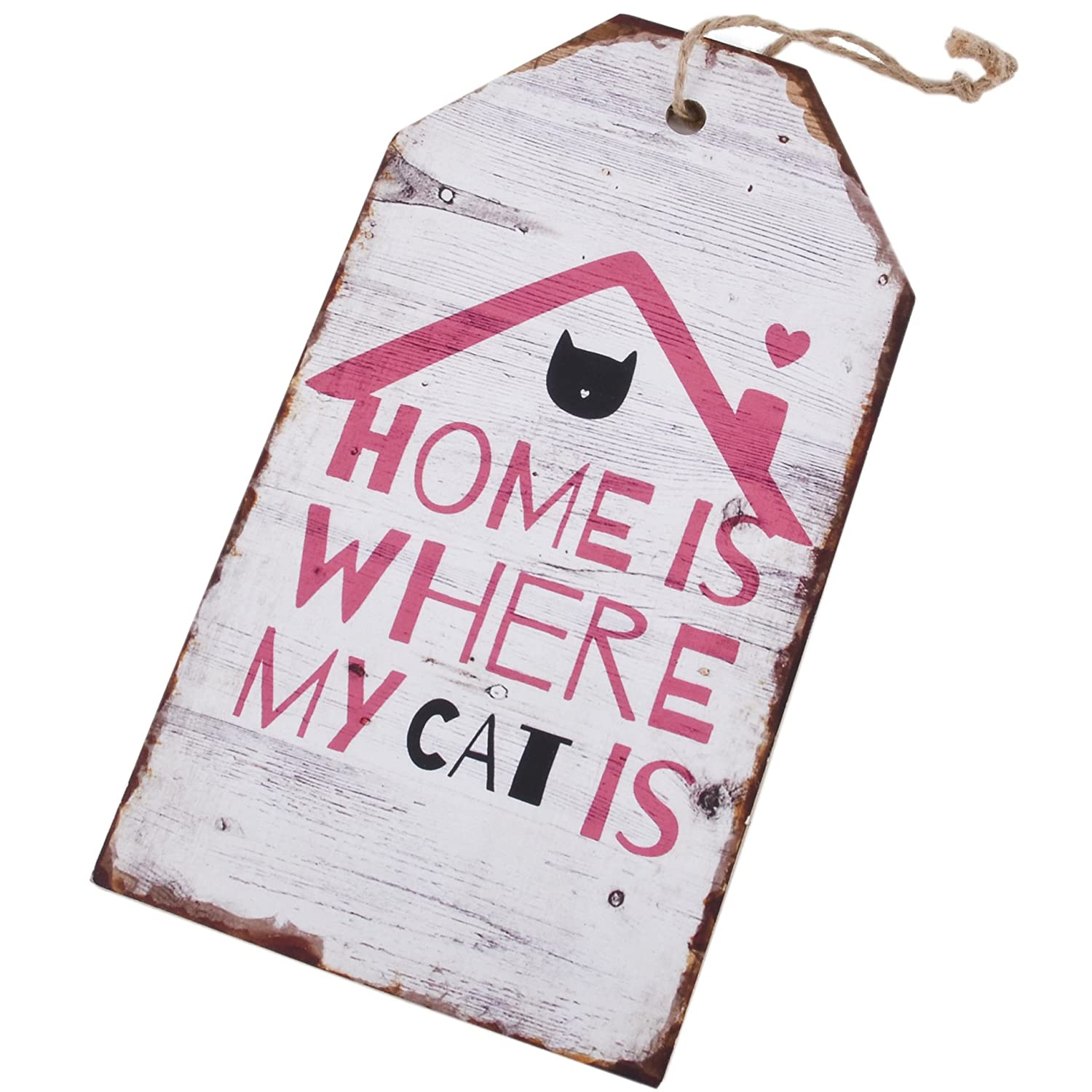 Dadeldo Living & Lifestyle Cartel de Madera Home Cat Diseño ...