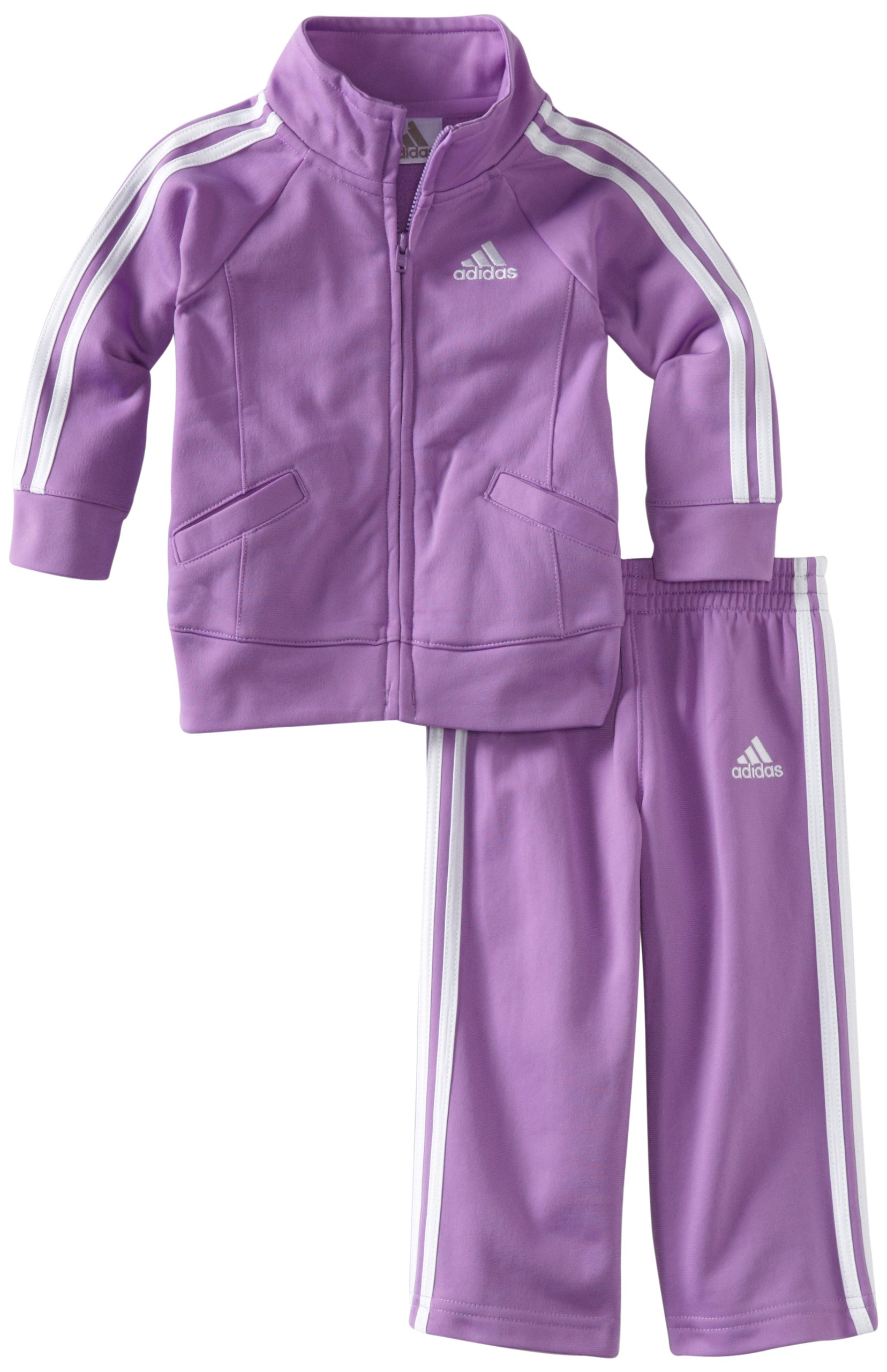 adidas Baby Girls' Tricot Zip Jacket and Pant Set, Purple Basic, 12 Months