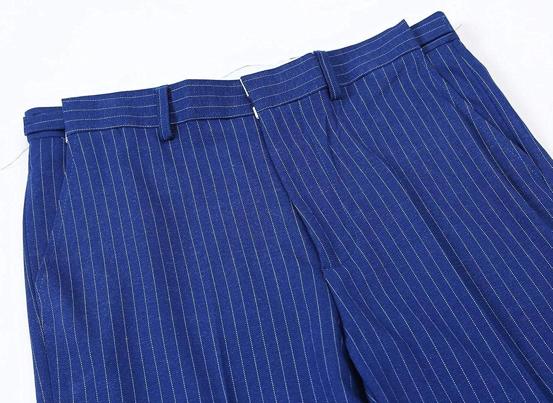JinXuanYa Mens Pinstripe Suit 2 Piece Slim Fit Casual Dress Suits Blazer+Pants