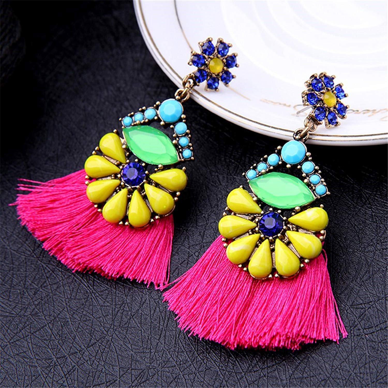 Dangle Earring Girls Elegant Teens piercing Bohemia Tassels Thread Boho Red