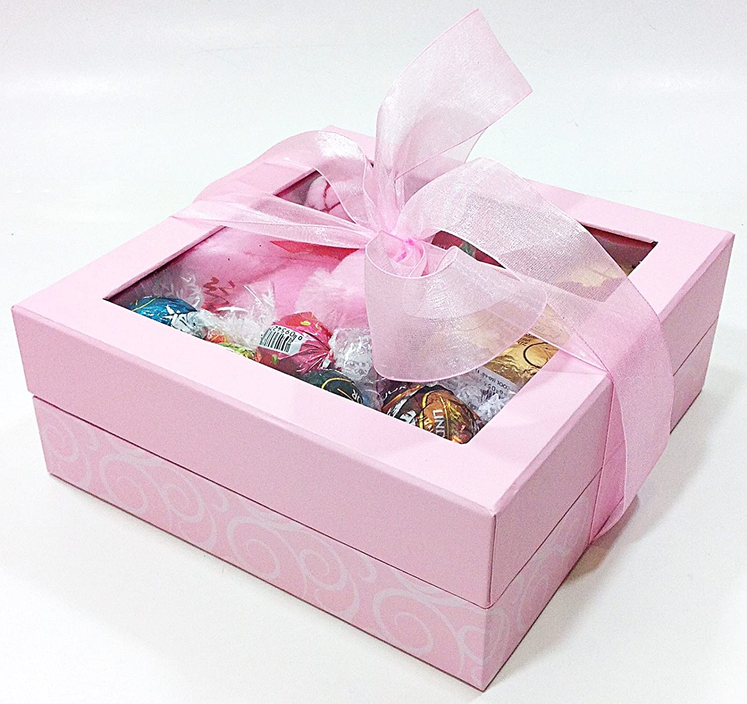 Amazon.com : Pink Ribbon Valentines Day Gift Box - Lindt Lindor ...
