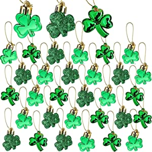 30 PCS St. Patrick's Day Shamrocks Ornament Set - Good Luck Clover Hanging Bauble Trefoil Pendant Decoration for Keyring Tree Shelf Home Decor Irish Festival, 3 Style