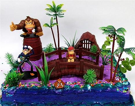 Sensational 15 Piece Super Mario Brothers Donkey Kong Birthday Cake Topper Set Funny Birthday Cards Online Amentibdeldamsfinfo